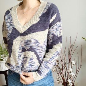 Allison New York V Neck Blue Grey Sweater Size S